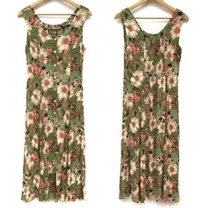 90s Style Floral Button Up Crinkle Maxi Dress